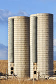Twin farm silos — Stock Photo