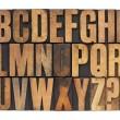 Alphabet in letterpress wood type — Stock Photo