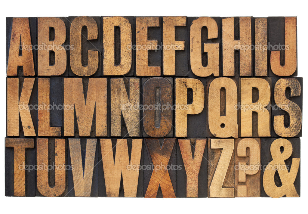 Alphabet in letterpress wood type stock photo for Alphabet photo letters