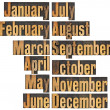 Month in letterpress wood type — Stockfoto #9258084