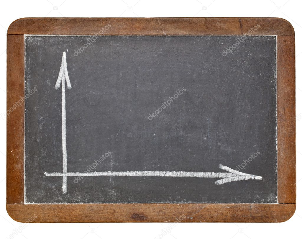 Blank graph  or coordinate axis - white chalk on retro slate blackboard isolated on white — Stock Photo #9555966