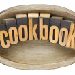 Stock Photo: Cookbook in wooden bowl