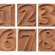 Outlined numbers in letterpress type — Stock Photo