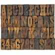 Letters and numbers in vintage type - Stockfoto