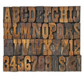Letters and numbers in vintage type — Stock Photo