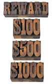 Reward in western style type — Stock Photo