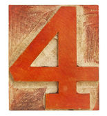 Number four - letterpress wood type — ストック写真
