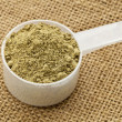 Scoop of hemp protein powder — Stock Photo #9982823