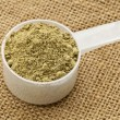 Stock Photo: Scoop of hemp protein powder