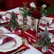 Red Christmas Table - Stock Photo