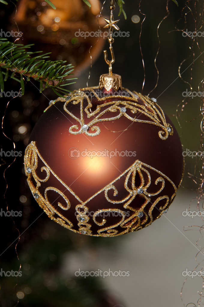 Decorative Christmas balls hanging on pine - tree branch   #8261440