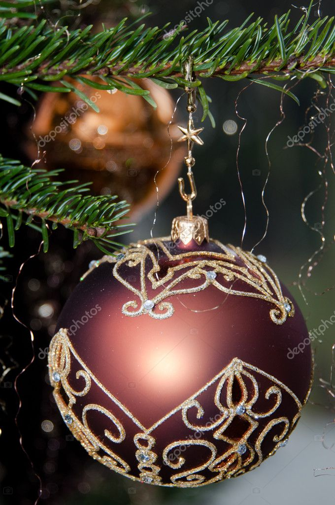 Decorative Christmas balls hanging on pine - tree branch — Stock Photo #8264815