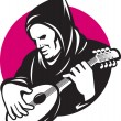Hooded Man Playing Banjo Guitar - Stock Vector