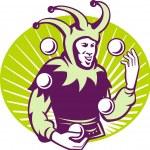 Jester Juggler Juggling Balls Retro — Stock Vector #10007098
