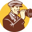 Man Shouting With Vintage Bullhorn Retro — Stock Vector