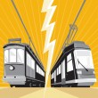 Vintage and Modern Streetcar Tram Train — Stock Vector #10007115