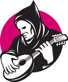 Hooded Man Playing Banjo Guitar — Stock Vector