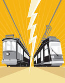 Vintage and Modern Streetcar Tram Train — Stock Vector