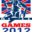 Games 2012 Track and Field Hurdles British Flag — Stock Photo #10090278