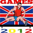 Games 2012 Track and Field Hurdles British Flag — Stock Photo #10090383