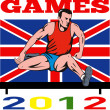 Games 2012 Track and Field Hurdles British Flag - Stock Photo