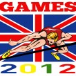 Games 2012 High Jump Track and Field British Flag — Stock Photo #10090386