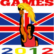 Games 2012 Athlete With Flaming Torch Retro British Flag — Stock Photo #10090397