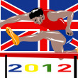 Games 2012 Track and Field Hurdles British Flag — Stock Photo #10090430