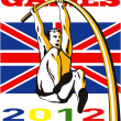 Games 2012 Pole Vault Track and Field British Flag — Stock Photo #10090438