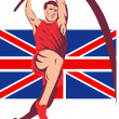 Games 2012 Pole Vault Track and Field British Flag — Stock Photo #10090449