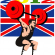 Games 2012 Weightlifting Retro British Flag — Stock Photo
