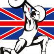 Games 2012 Weightlifting Retro British Flag - Stock Photo