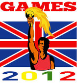 Games 2012 Athlete With Flaming Torch Retro British Flag — Stock Photo