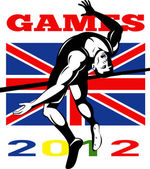 Games 2012 High Jump Track and Field British Flag — Stock Photo
