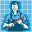 Plumber Worker With Monkey Wrench Retro — Stock Vector