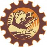 Welder Worker Welding Torch Retro — Stock Vector #10248093