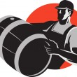 Man Carrying Wine Barrel Cask Keg Retro — Stock Vector