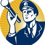 Policeman Security Guard With Flashlight Retro — Stock Vector #10248101