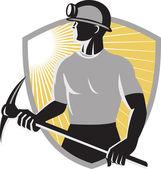 煤矿矿工挑 ax 屏蔽 — 图库矢量图片