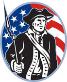 American Patriot Minuteman With Bayonet Rifle And Flag — Stock Vector