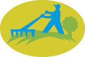 Gardener Landscaper Farmer With Rake — Stock Vector