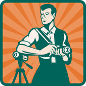 Photographer With DSLR Camera and Video Retro — Stock Vector
