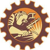 Welder Worker Welding Torch Retro — Stock Vector