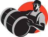 Man Carrying Wine Barrel Cask Keg Retro — Stock Vector