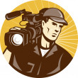 Cameraman Film Crew Pro Video Movie Camera — Stock Vector