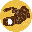 Professional Video Camera Camcorder Retro — Stock Vector