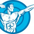 Bodybuilder Flexing Muscles Pointing Side Retro — Vector de stock #10335076