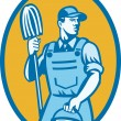 Cleaner Worker With Mop And Pail — Stockvectorbeeld