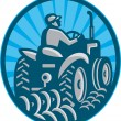 Farmer Plowing With Tractor Retro - Stock Vector