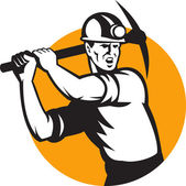Coal Miner Working Pick Ax Retro — Stock Vector